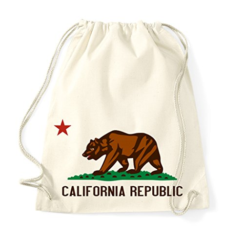 beutel/Modell California Republic/Beutel Rucksack Jutebeutel Sportbeutel Tasche Fashion Hipster/Farbe Beige ()