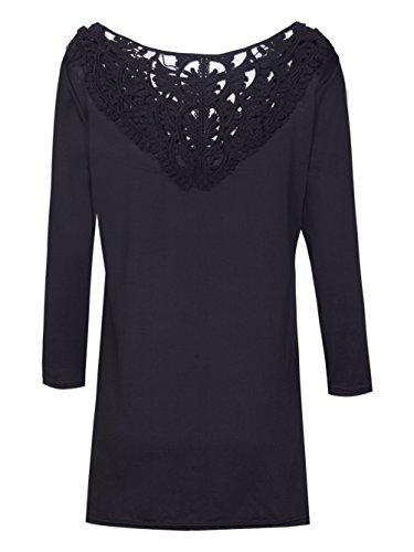Vintage Crochet Blouse Dentelle Hauts broderie shirt Noir