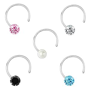 Peenzone 92.5-925 Sterling Silver Cubic Zirconia AD Multi Color Stud Nose Pin Combo Set for Women Girls