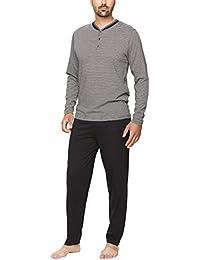 Moonline - Schlafanzug Herren aus Baumwolle, langer Männer Pyjama mit Öko-Tex Standard 100 (zweiteilig, modernes Design)