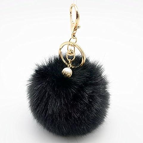 ETGtek(TM) Llavero lindo del chapado en piel de conejo auténtica peludo Llavero de la bola de Pom Pom para el encanto pendiente de la llave del coche del anillo del bolso de la bolsa de asas del anillo dominante del coche para
