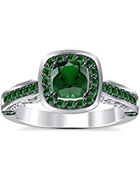 Silvernshine 2Ct Asscher Cut Green Garnet CZ Dimoands 14K White Gold PL Engagement & Wedding Ring
