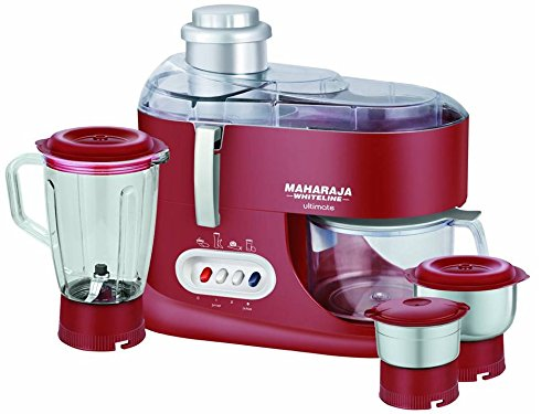 Maharaja Whiteline Ultimate Red Treasure JX-101 550-Watt Juicer Mixer Grinder (Red/Silver)