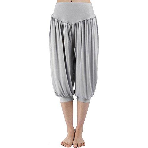Nadelstreifen-damen Shorts (VRTUR Damen Yogahose Pumphose in Unifarben | lässige Kurze Hose | Bermuda für den Strand | Haremshose Sommer 3/4 Yogahose Aladinhose Pluderhose Stoffhose(Small,Lila))