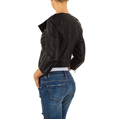 Lederoptik Biker Jacke Für Damen bei Ital-Design Schwarz