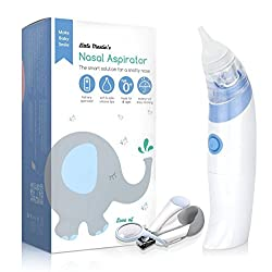 Little Martins Drawer Baby Nasal Aspirator - Safe, Fast, Hygienic Snot Sucker for Newborn & Toddler - Battery Operated Nose Cleaner (Blue)