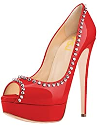 FSJ Women Fashion Peep Toe Platform Pumps High Heels Slip On Rivets Studded Dress Shoes Size 34-43 EU With 8 Colors