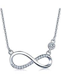 Unendlich U Fashion Unendlichkeit Zeichen Damen Halskette 925 Sterling Silber Zirkonia Anhänger Kette mit Anhänger, Rosegold/Silber