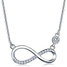 dd54dbd382b6 Collares Mujer- Infinite U Plata de Ley 925 Colgante Infinito  Diamante