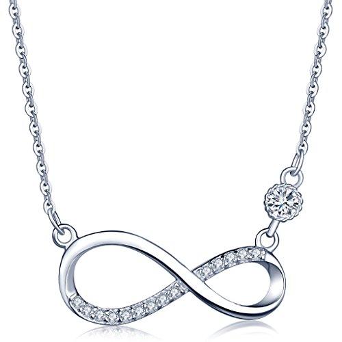 Unendlich U Fashion Unendlichkeit Zeichen Damen Halskette 925 Sterling Silber Zirkonia Anhänger Kette mit Anhänger, Rosegold/Silber (Silber)