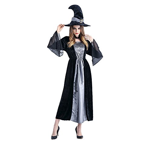 Adult Viktorianischen Vampir Kostüm - GOKOMO Halloween Vampir Cosplay Damen Cosplay Damen Kleid Terrorist KostüM Damen Rollenspiele Sex KostüM(Grau, gelb,One Size)