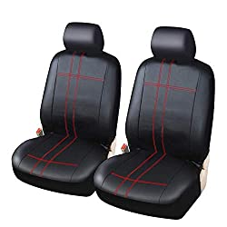 Universal-Autositzbezüge aus PU-Leder mit hoher Rückenlehne und Schalensitzbezug - Passend für die meisten Autos, LKWs, SUVs oder Vans. Autositzbezüge für alle Jahreszeiten,Rot