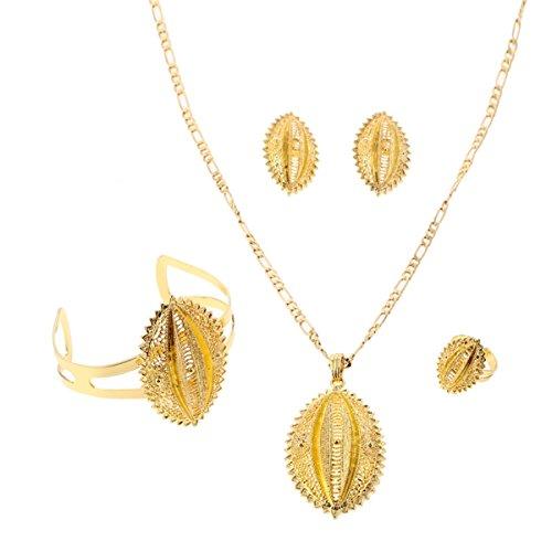 24K Gold Äthiopische Set Jewelry Anhänger Kette Clip Ohrring Ring Armreif 4Jewelry Set African habesha Afrika Schmuck (Gold Ohrringe Aus Indien)
