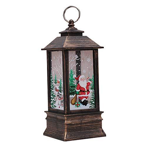 TJW Weihnachts-LED Laterne mit warmweißer Beleuchtung, Tischlampe und Hängelaterne Lampe, Weihnachtsdekoration, PVC, Bronze Santa , Large -