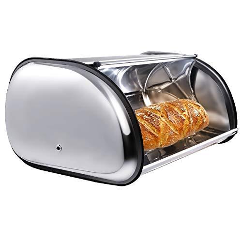 COSTWAY Brotkasten Edelstahl Rollbrotkasten Brotbox Brotkiste Brotaufbewahrung Brotbehälter mit Rolldeckel Belüftungslöchern 44x27x18cm