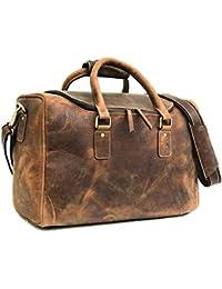 a52561b2e8e2 Zakara Full Grain 100% Genuine Hunter Brown Leather Weekender Duffle Bag