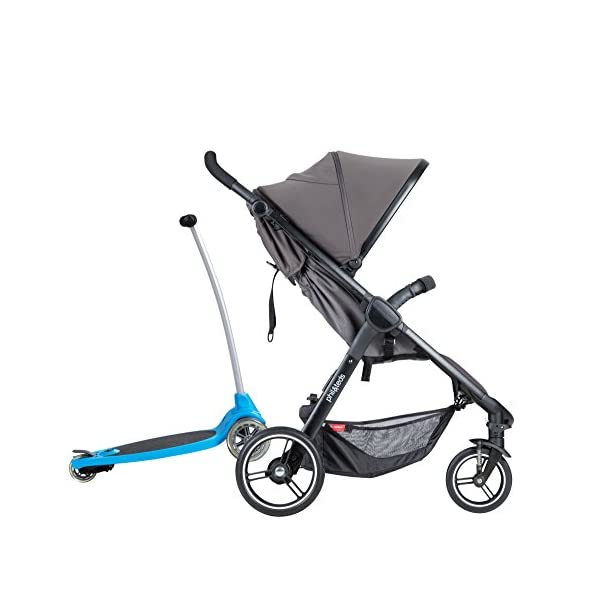 Phil&teds Smart Buggy Pushchair, Graphite phil&teds Foot fold - intuitive, compact, one-piece standing foot fold - a world's first of its kind - is only 23 Inch wide, making it perfect for tight city spaces ; A unique aerocore seat design that's soft and spongy for maximum comfort and is hypo-allergenic, ventilating, insulating, UV resistant, waterproof, non-toxic and simply wipes clean Smooth ride tires - super-smooth, hassle-free riding with 10 Inch rear puncture-proof, aerotech wheels and suspension on all four wheels; convenient hand-operated parking brake offers easy braking control at your fingertips Lightweight - stroller weighs 23.5 lbs. and includes a main, full-size seat that holds up to 44 lbs., an extendable leg and a sun hood with zip-out extension and silent peek-a-boo flap 16