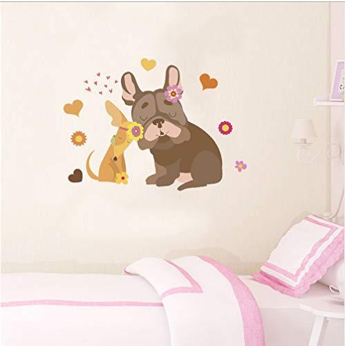 wassaw Süße Hund Blume Herz Wandaufkleber Für Kinderzimmer Wohnkultur Cartoon Tiere Wandtattoos DIY Poster PVC Wandkunst Decorations62 * 81Cm