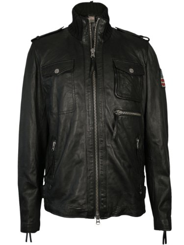 Designer Leder Jacke - KNITTED FUNNEL BIKER -XL ()