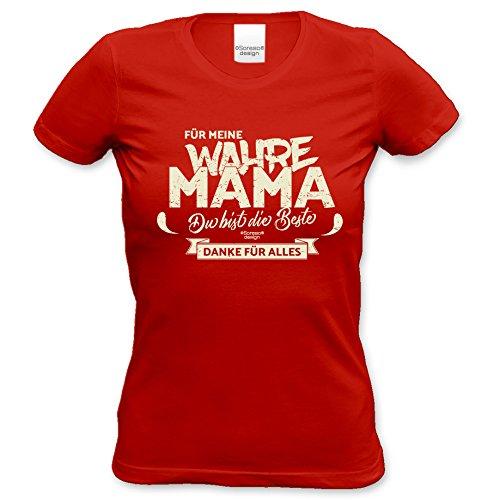 Damen Geschenk zum Muttertag oder Geburtstag Girlie Fun T-Shirt in Größen bis XXL und Print Aufdruck Für meine wahre Mama Farbe: rot Rot