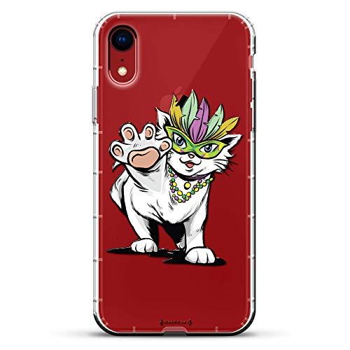 Luxendary Air Series Schutzhülle für iPhone XR, Silikon, 3D-Druck, Luftpolster-Kissen, transparent, Tiere, Animals: Mardi Gras Cute Cat -