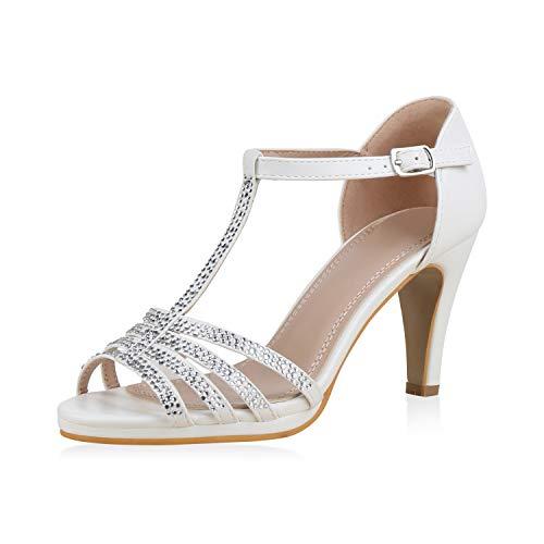 mps Riemchensandaletten Strass Sandaletten Stiletto High Heels Metallic Schuhe Absatzschuhe Elegante 183226 Weiss 40 ()