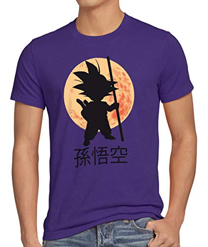 style3 Goku Dragon Moonlight Herren Anime T-Shirt Ball Mond Gohan Jung Dojo Son Drache Young, Größe:M, - Anime Kostüm Für Jungs