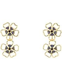 Ted Baker Boucles d'oreilles forme fleur - or et cristal bleu marine - Femme