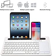 Wireless bluetooth V 3.0 Keyboard with Mouse touchpad and Multi device changeable keyboard and devices holder