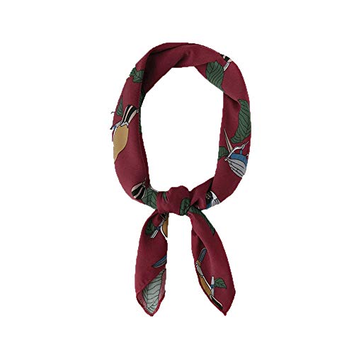 zhouzhou666 Small Silk Scarf Spring and Summer Models Sunscreen Wild Small Squares Professional Collar Scarf Ladies Soft Sister Headband Hair Band, Red (Band Red Collar)