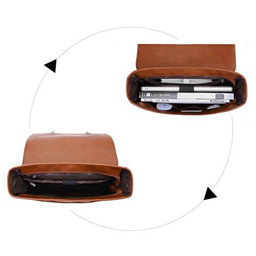 ECOSUSI Borsa Messenger in Pelle Pu Borsa Vintage Borsa a Tracolla per Laptop 14.7 Pollici (Marrone1)