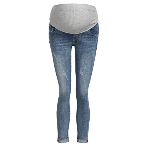 Pantaloni premaman topgrowth jeans donna incinta regolabile pantaloni elastico skinny maternità cintura infermieristica addome casual gravidanza pantaloni denim (blu, m)