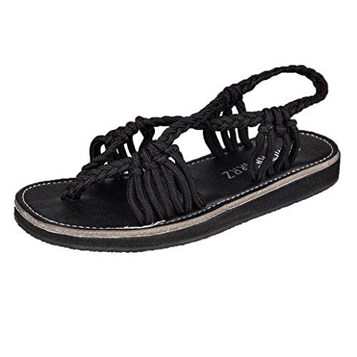 OYSOHE Damen Geflochtene Römische Strandsandalen Frauen Flip Flops Sandalen Sommer Schuhe Hausschuhe Mode Strand Schuhe Hausschuhe (Sandalen Große Füße)