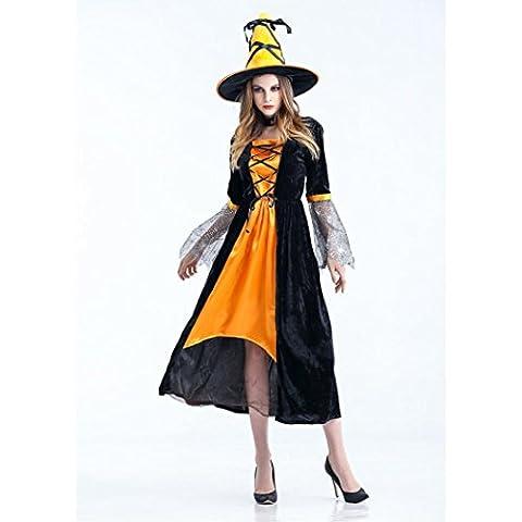 Hirolan Frau Hexe Cosplay Kleid Party Requisiten Erwachsene Halloween Kostüm + Hut (One size, Gelb)