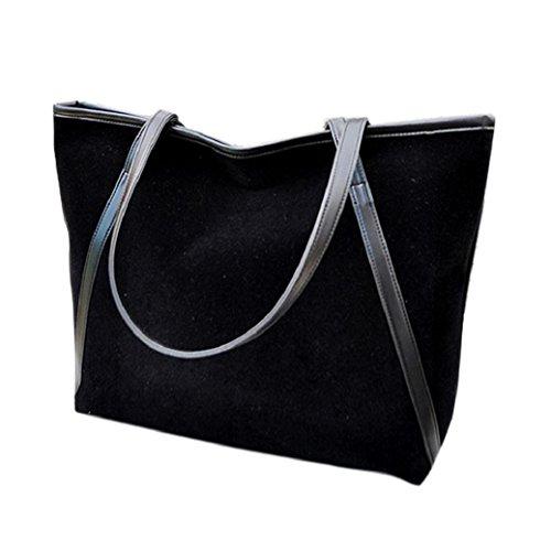 Fami Nouveau Simple Grande Capacité en cuir Suede Women Bag Noir