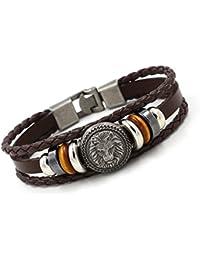 de26a5944119 Unique pulsera brazalete Amuleto León cuero trenzado tres filas marrón cafe  para la mujer ajustable 16cm