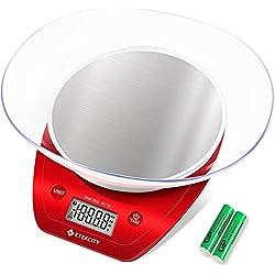 Etekcity Balance de Cuisine Electronique de Haute Précision en Acier Inoxydable, Multi-Fonction, 5kg/11lb, Bol Amovible, Mesure de Liquide, Auto-Arrêt, Fonction Tare, 2 Piles AAA, Rouge Elégant