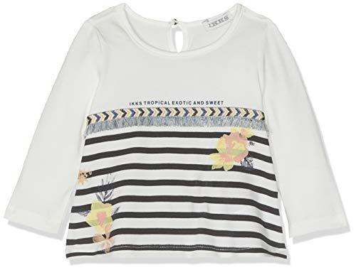 IKKS Junior T Shirt Mariniere Fleurs ET Franges, Écru (Blanc Cassé 19), 18-24 Mois (Taille Fabricant:2A) Bébé Fill