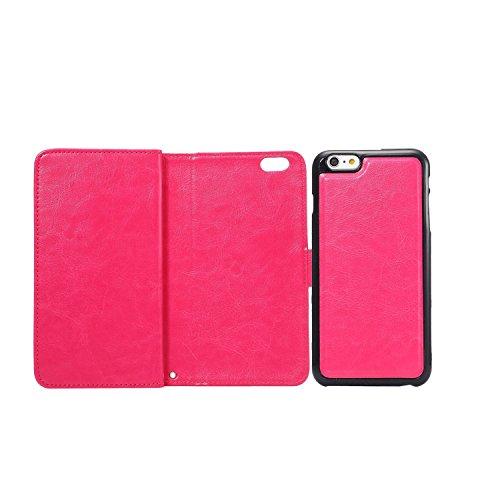 C-Super Mall-UK Apple iPhone 6 / 6s 4.7 Inch hülle,Qualität PU-Leder starke magnetische Split Mappen-Standplatz -Schlag-hülle (7-Karten-Slot) für Apple iPhone 6 / 6s 4.7 Inch(Weiß) rose red