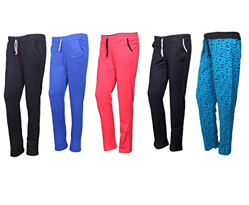 IndiStar Cotton Lower/Track Pants/Pyjama for Women(Pack of 5)_Black/Royal Blue/Pink/Black/Firozi_Size-X-Large_73200-1617182224-IW-P5-XL