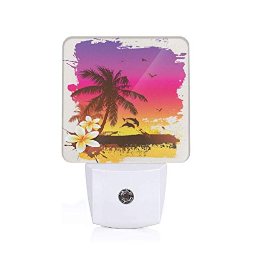 Tropical Sunset In Retro Watercolor Style Palm Trees On The Beach Image Plug-in LED Night Light Lamp with Dusk to Dawn Sensor, Night Home Decor Bed Lamp