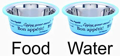 Elton Bon Appetit Cutie Bowls (Blue) Dog Bowls Export Quality Inside Stainless Steel Dog Food Bowl Feeder Bowls Pet Bowl for Feeding Dogs Cats and Pets (Large 1.80 L) Set of - 2