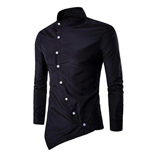 Sommer Unregelmäßige Langarm-Bluse Für Herren, Amlaiworld Cool Slim Fit T-Shirt Prime Day (XXL, Schwarz)