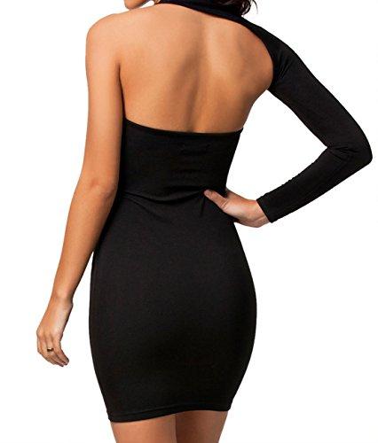 EGirl Sexy Night Party Asymmetrischer Schulter Mini Kleid,Schwarz,One Size  Schwarz