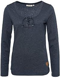 Sublevel Damen Basic Longsleeve mit Kordeln   Elegantes Langarm-Shirt Leicht Meliert