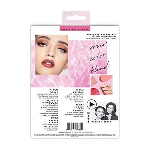 Real Techniques Everyday Essentials Make-up Brush Complete Face Set (Miracle Complexion Sponge, Expert Face, Blush, Setting and Deluxe Crease Brushes)