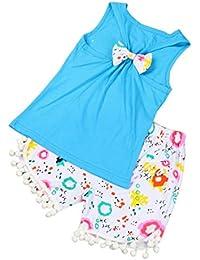 SMARTLADY 1- 4 años Niña Verano Tops Camiseta + Pantalones cortos Conjuntos de Ropa de playa