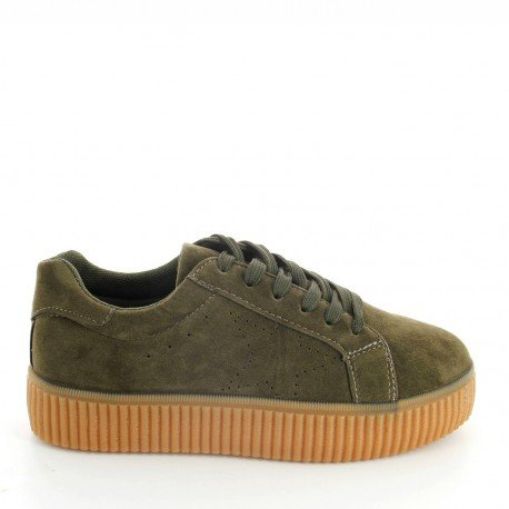Ideal Shoes - Baskets style creepers effet daim Acelya Taupe