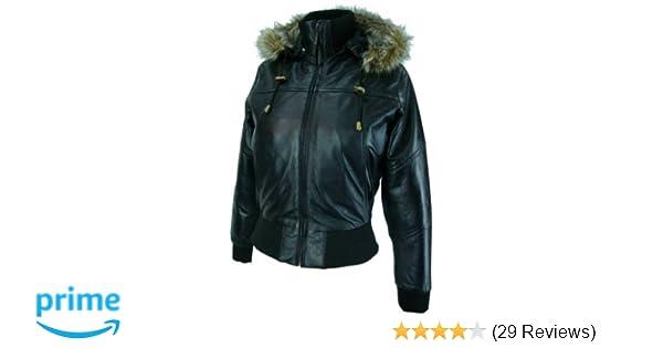 Sizes 8 to 24 #M1 UNICORN Womens Hooded Leather Bomber Jacket