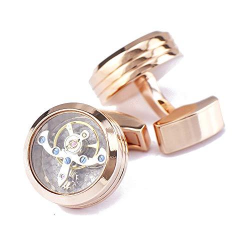 AdorabCufflinks Oro Rosa Doble línea Movimiento de tourbillon Reloj Gemelos botón de...